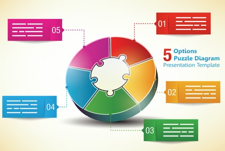 Five sided 3d puzzle presentation infographic template with explanatory text field for brochures, banners, ads and business statistics
