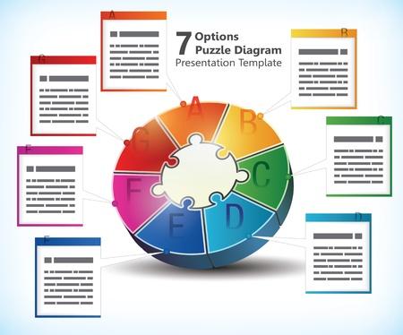 パンフレット、バナー、広告、インフォ グラフィックのビジネス統計情報用のテキスト ボックスと 7 つの両面プレゼンテーション テンプレート  イラスト・ベクター素材