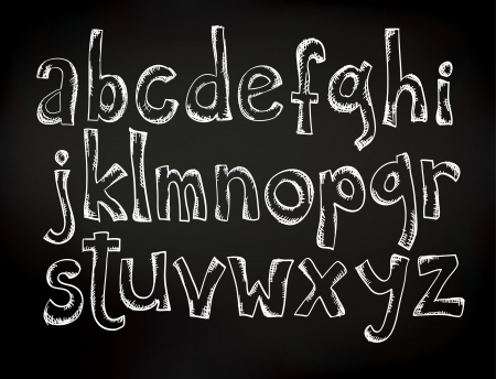 Doodle chalk drawn alphabet on a black board 일러스트