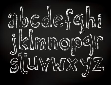 letras negras: Tiza Doodle dibujado alfabeto en un tablero negro