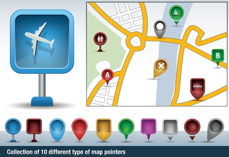 Collection of map indicators, directional signs and pins