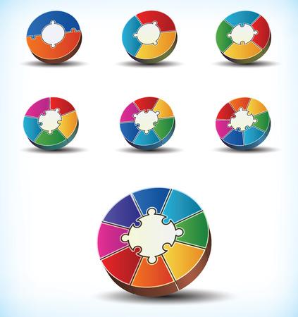 fluss: Sammlung von sieben verschiedenen Vorlagen von bunten Rad statistische Diagramme mit Komponente Divisionen Nummerierung zwischen zwei und acht, aus denen Sie den Umfang des Rades Illustration