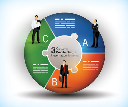 segments: 3 sided wheel chart with connected segments and illustration of business people