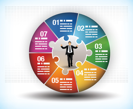 segments: Design template of a colourful business wheel chart with seven segments or components and a central figure of a businessman