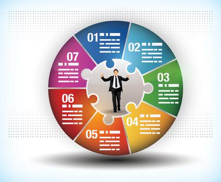 fluss: Design-Vorlage von einem bunten Rad Gesch�ft Diagramm mit sieben Segmenten oder Komponenten und eine zentrale Figur eines Gesch�ftsmannes