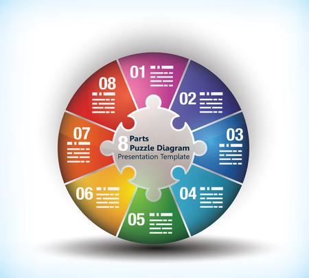 graficas de pastel: 8 Tabla de la rueda de negocios cara con el lugar para el texto y la conexión entre ellos