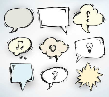 Collection of nine different doodled speech bubbles