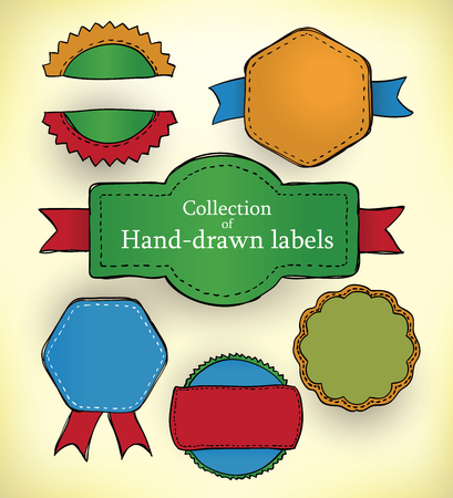 doodled: Collection of doodled and colored promotion labels
