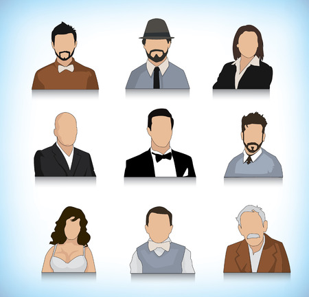 Collection of different type of persons portrait illustrations Vector
