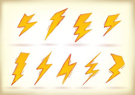 Collection of hand drawn high voltage signs Stock Vector - 25249369