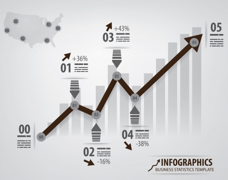 statements: Business infochart template with an arrow and different steps  Arrow is left as outline so it is easier to edit