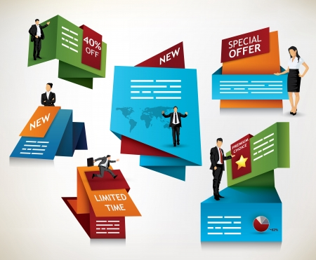 Collection of modern promotional signs for banners, brochures and other media Ilustrace