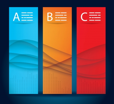 Abstract banner templates with wavy background in three colors Vector