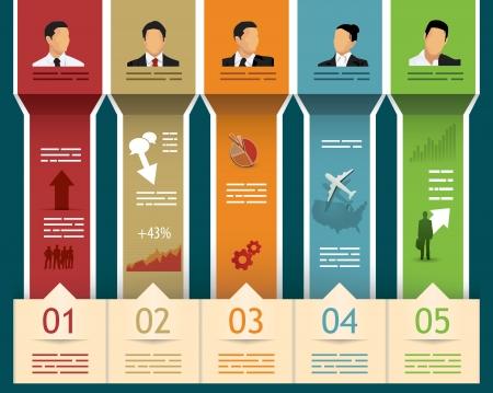 Farklı girişi için alanları ve beş kategoride soyut broşür şablonu Illustration