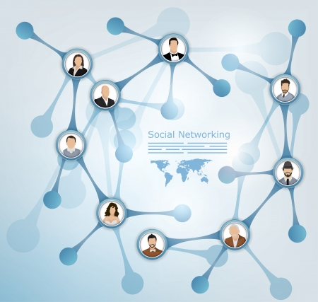 Abstract presentation of a social network with people avatars connected to each other Vector