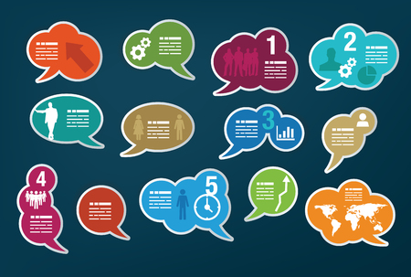 chatter: Set of different vivid colored speech bubbles Illustration