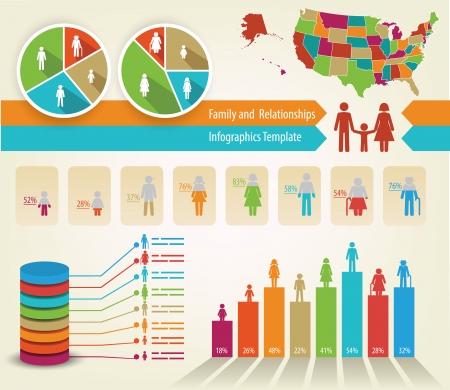 infografica: Infografica di albero genealogico e statistiche, con una mappa Stati Uniti e tutti i paesi Vettoriali