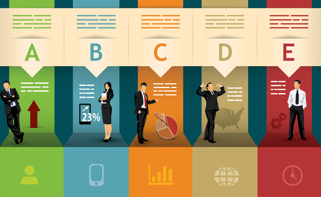 Presentation template of five different statistical options Stock Illustratie