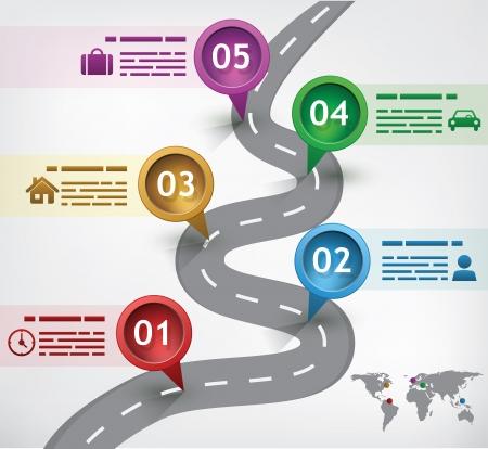 doelen: Presentatie sjabloon met een weg en vijf gemarkeerde plaatsen Stock Illustratie