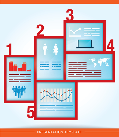abstract presentation template with five different options for input Stock Vector - 25471542