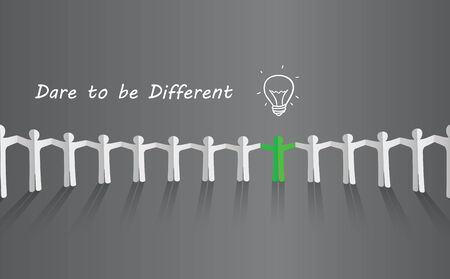 think different: Symbol of uniqueness, ideas, different thinking, standing out of the crowd