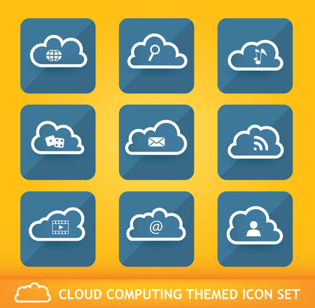 on cloud nine: Collection of nine cloud network themed icons