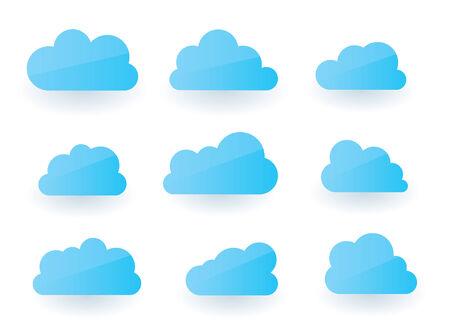 Set of nine fluffy modern cloud illustrations Vector
