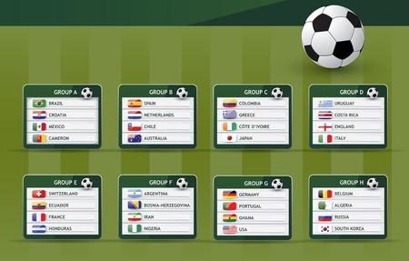 Background illustration of soccer groups of national teams Vector