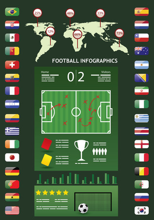 Soccer infographics with flags of national teams, a field and a map of the world Vector