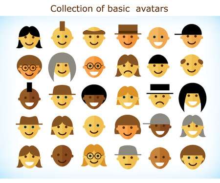 multicultural group: Collection of different simple flat avatars of different ethnic groups