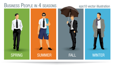 all seasons: Business people illustration for all the four seasons