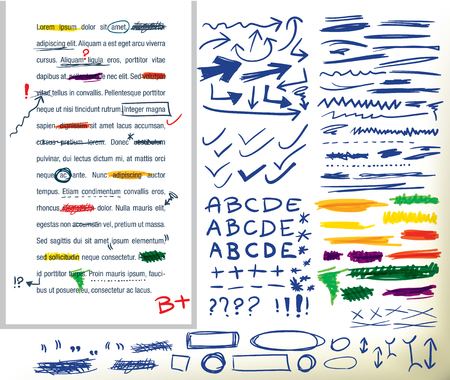 corrections: collection of different hand-drawn correction elements, arrows.