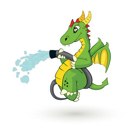cartoon fire: cute cartoon fire fighter dragon vector illustration