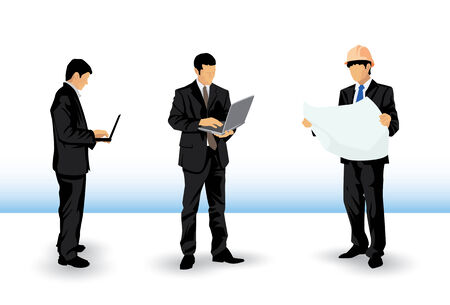man using computer: two working businessman illustration with laptop and an engineer Illustration