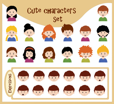 sad teenage girl: cute character set with various expressions appliable for each character