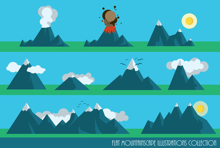 eruption: collection of flat mountains illustrations with sun, clouds and a volcano