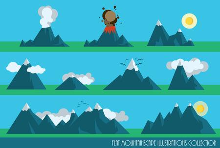 ausbrechen: Sammlung von flachen Bergen Illustrationen mit Sonne, Wolken und ein Vulkan Illustration