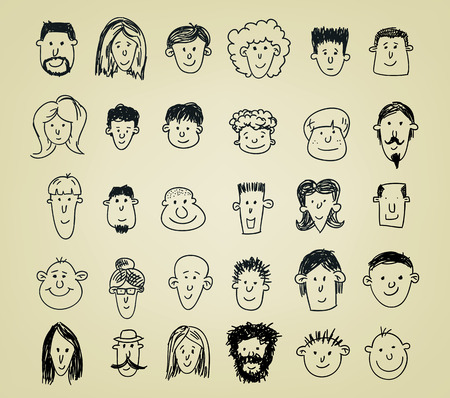 collection of different doodled character heads in various expressions Illustration