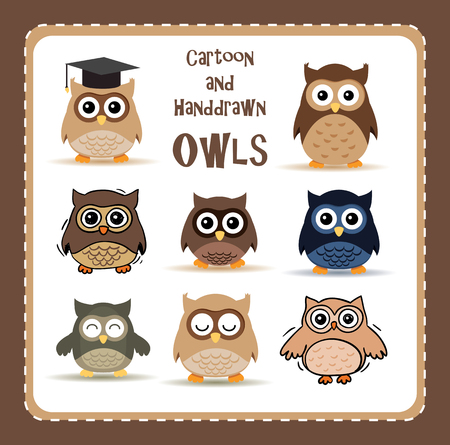 collection of nine cute cartoon and hand-drawn owls Vector