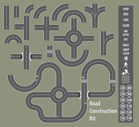 Set of road elements with roundabouts, tunnels and different signs
