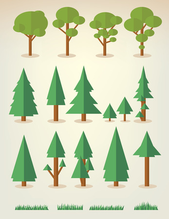 pine trees: set of flat trees and grass including pine and deciduous trees