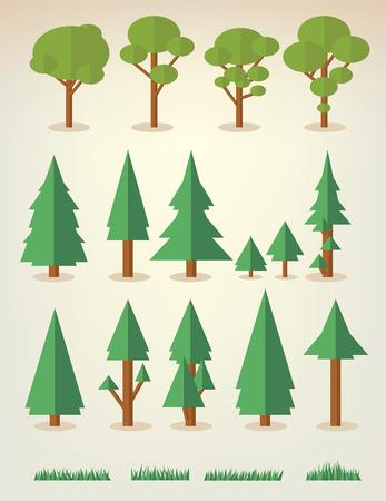 boom: set van platte bomen en gras, waaronder dennen en loofbomen Stock Illustratie