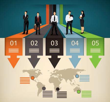 mapa de procesos: Infografía plantilla de cinco opción diferente y un mapa del mundo con puntos de interés y una ilustración equipo de empresarios Vectores