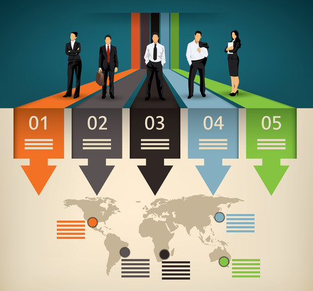 management process: Infographic template of five different option and a world map with points of interest and a business team people illustration Illustration
