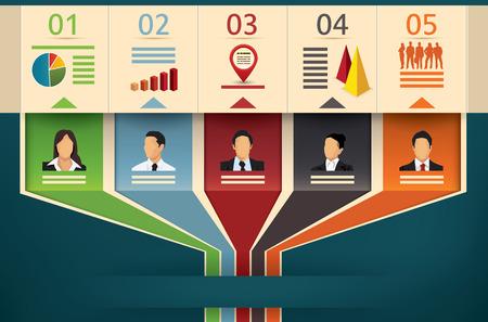 gestion: Miembros de la plantilla del equipo de infografía que muestra el flujo de negocios diagrama de vectores o de gestión con campos de referencia oficiales que cooperan y trabajan en la unidad a una flecha de salida