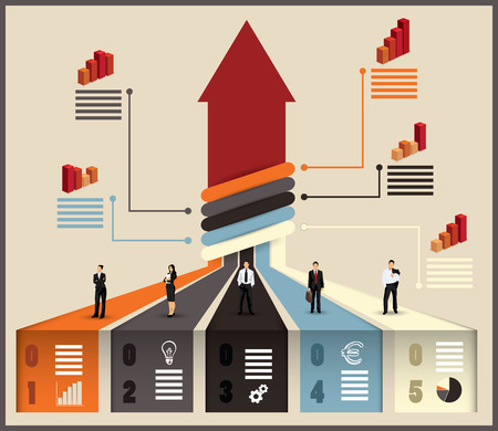 Business team flow chart infographic with various businesspeople and executives combining their skills and expertise on a project leading to an upward pointing arrow, vector illustration with graphs Stock Illustratie