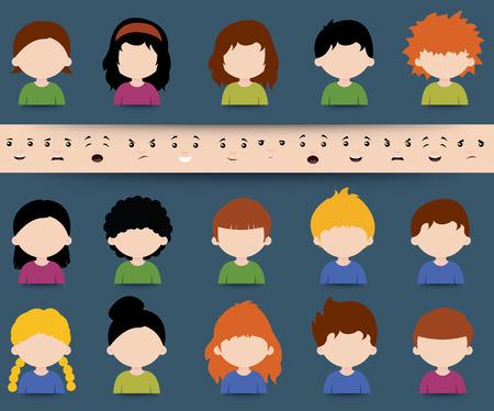 Conjunto de diversos iconos de personaje de dibujos animados vector de colores con elementos de cara separadas que representan diferentes expresiones, estados de ánimo y emociones que han de aplicarse en un diseño de la mezcla y el partido
