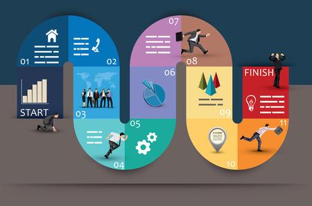 diagrama de procesos: Diseño gráfico creativo de Conceptual Curvy Diagrama de negocios, fases o etapas Destacando, en Brown y azul fondo verde.