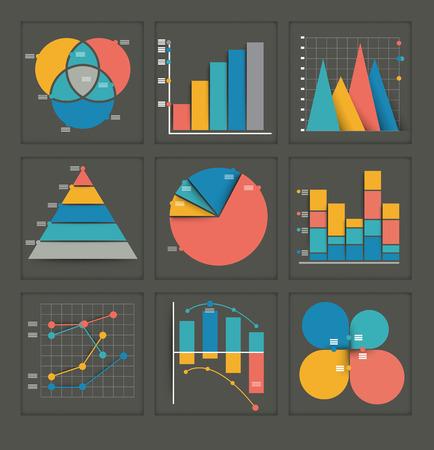 Set von farbigen Vektor-Business-Grafiken in verschiedenen Ausführungen, die eine Pyramide, Tortendiagramm, Balkendiagramm, überlappende Kreise, Punkte und verzahnten darstellt Statistiken, Analysen, Performance und Projektionen