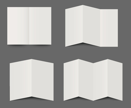 graphic display cards: Vector templates of dimensional folded blank white brochures for use as design elements for leaflets, advertising and branding in double, triple fold and four fold formats Illustration